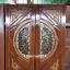ประตูไม้สักกระจกนิรภัย แกะหงส์มังกร เกรดA รหัส A63