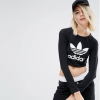 adidas Originals Long Sleeve Crop Top With Trefoil Logo